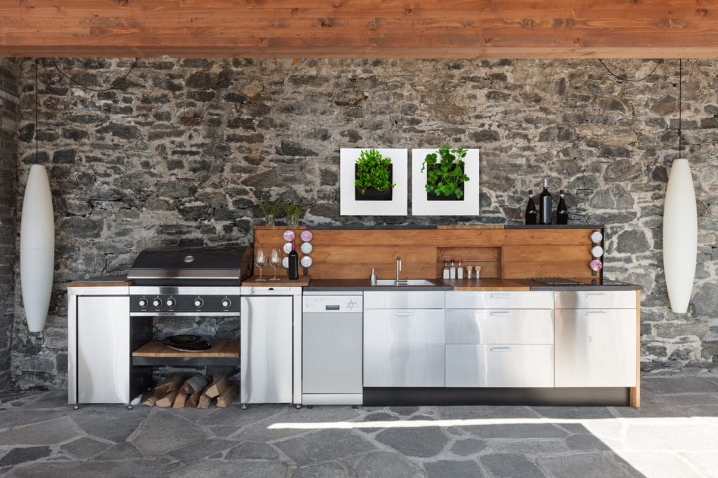 LivePicture GO White Frame Hung Above Outdoor Kitchen